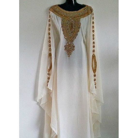 This elegant caftan kaftan dress ivory long kaftan maxi for White kaftan wedding dress