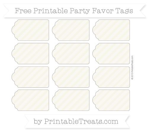 Eggshell Diagonal Striped  Party Favor Tags