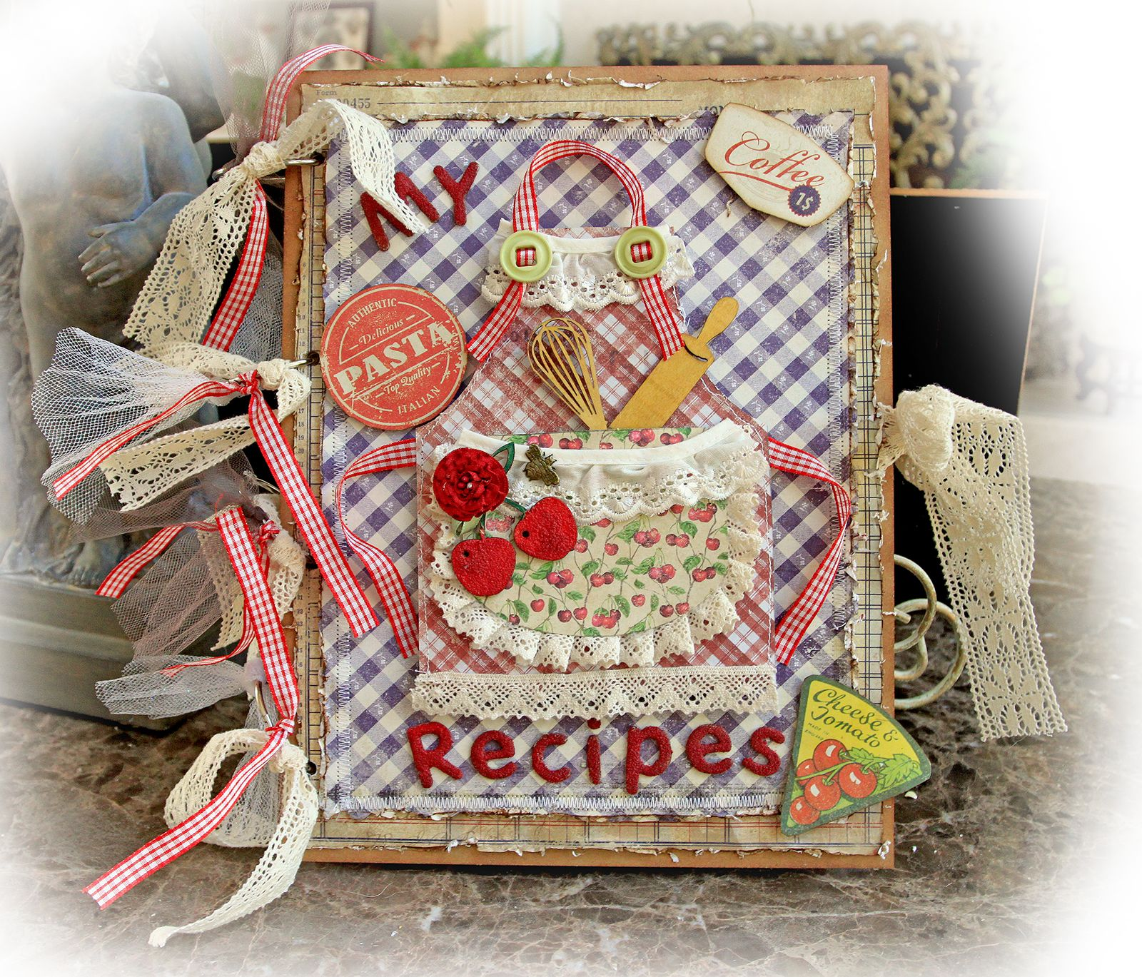 How to scrapbook a recipe book - Country Kitchen Recipe Book Scraps Of Darkness August Kit Rustic