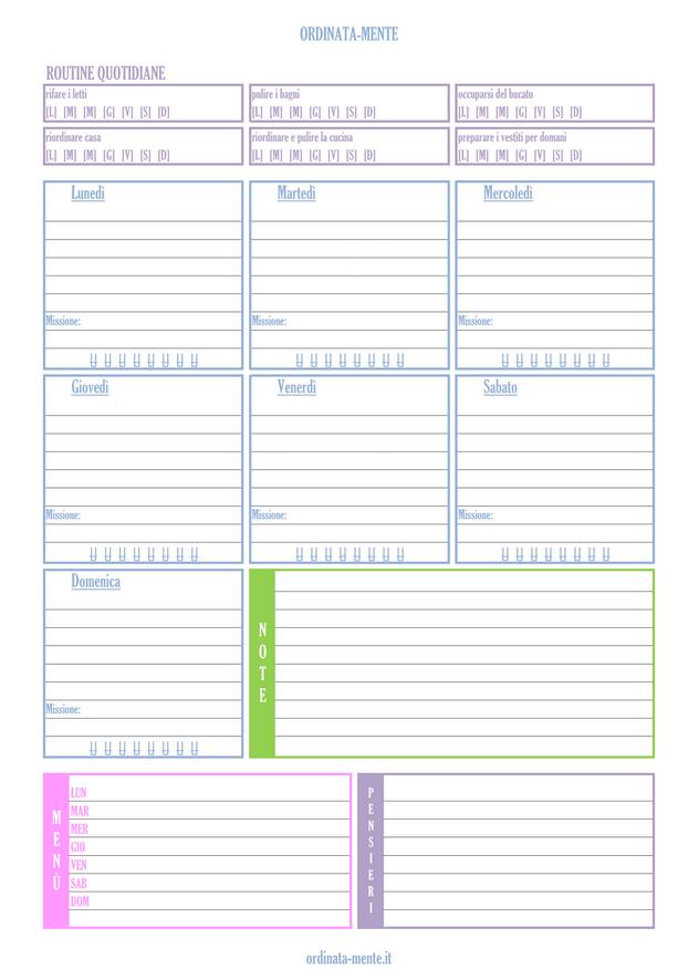 Planning settimanale pulizie casa filofax organizer for Planning faccende domestiche