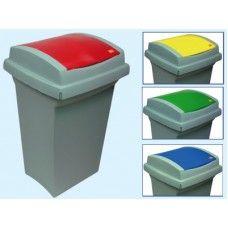 Bidoni Recycling raccolta differenziata Colore Blu  Bidoni per la raccolta differenziata in materiale plastico Lt. 50, coperchio colorato. Dimensioni cm.    L43xP39xH68 $13,43€
