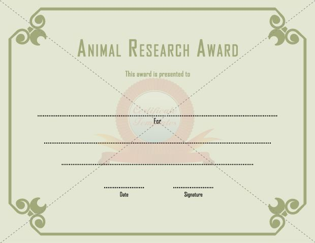 Animal Research Award GENERAL TEMPLATE TEMPLATES Pinterest - employee recognition certificate template