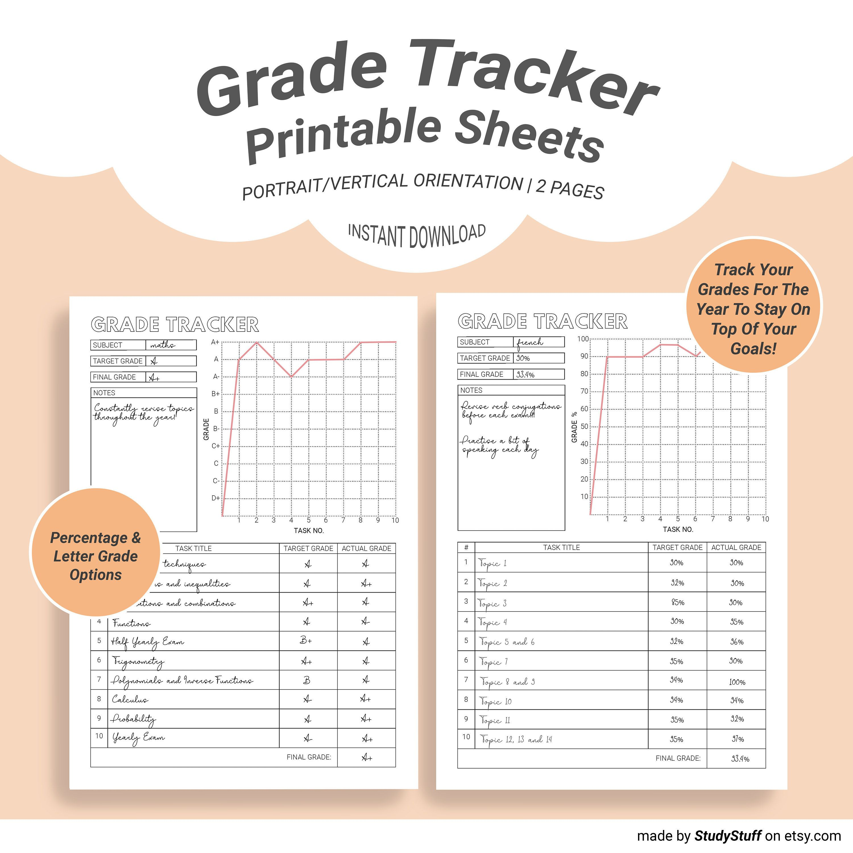 Grade Tracker Printable Goal Grade Tracking Letter