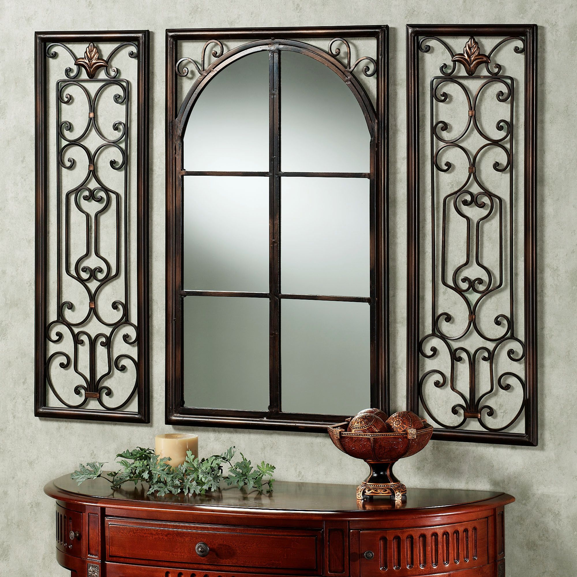Provence Bronze Finish Wall Mirror Set in 2020 | Lighted ...