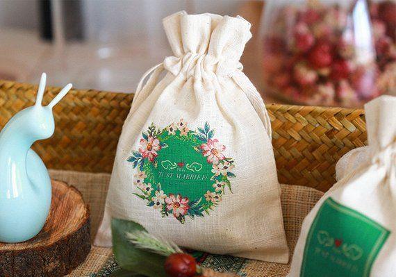 Personalize Wedding Monogram Cotton Linen Drawstring Favor Bag Gift