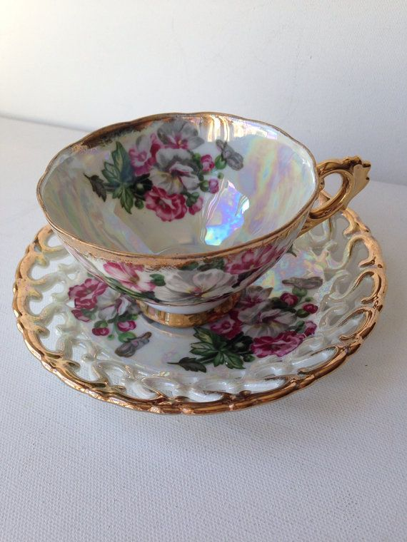 Iridescent Tea Cup and Saucer Gold Trim Yellow Lily Flowers