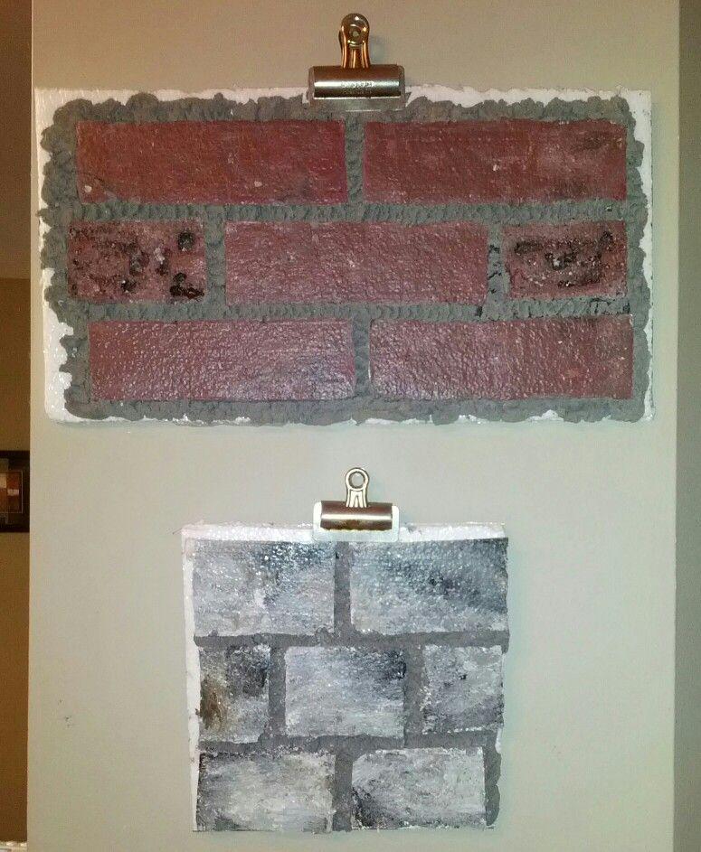 Faux brick wall out of styrofoam 4x8 styrofoam