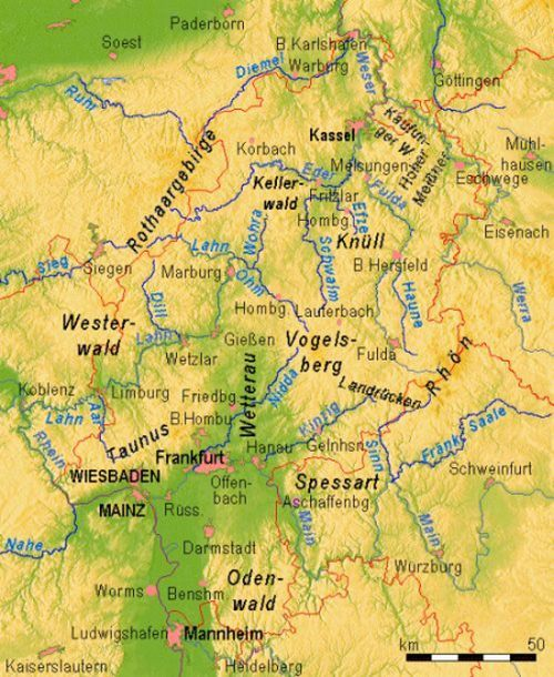 hesse map of important rivers mountains and cities of hesse germany arndtarrant family