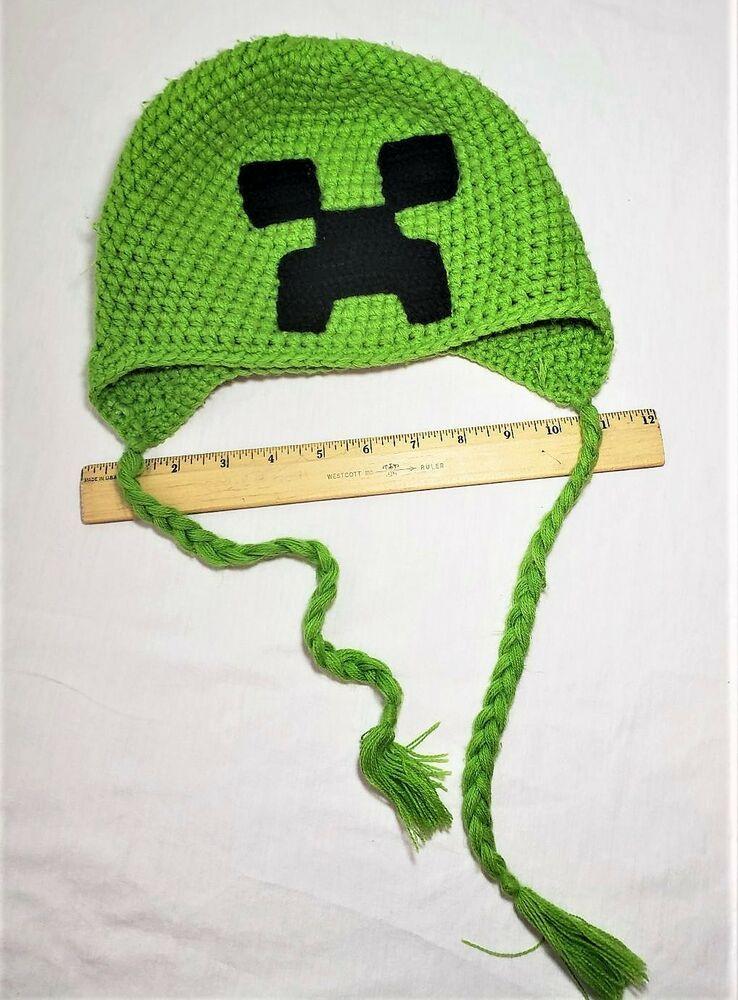 1b2d14232 Minecraft Creeper Beanie Green Crochet - Photo Prop Winter Hat Video ...