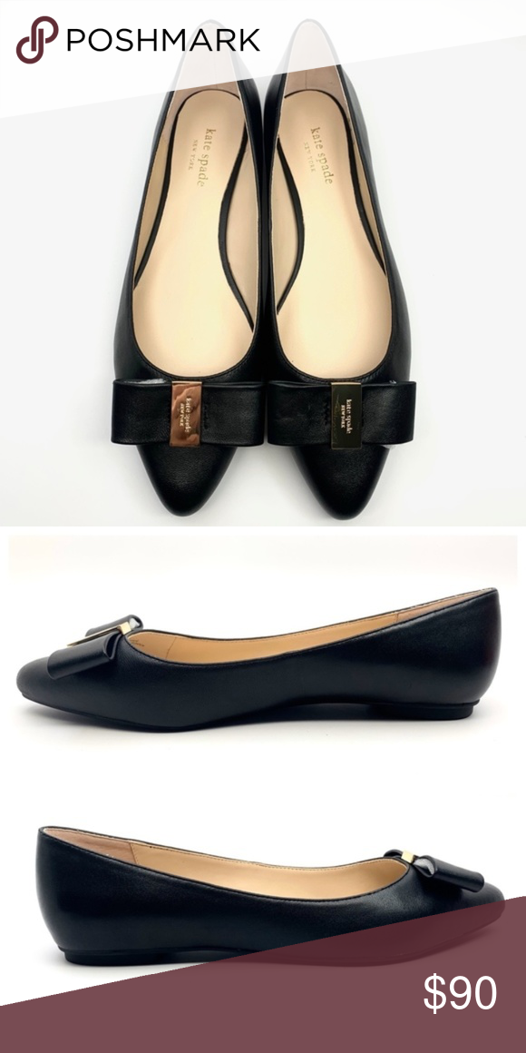 Kate Spade Norah Leather Bow Tie Flats