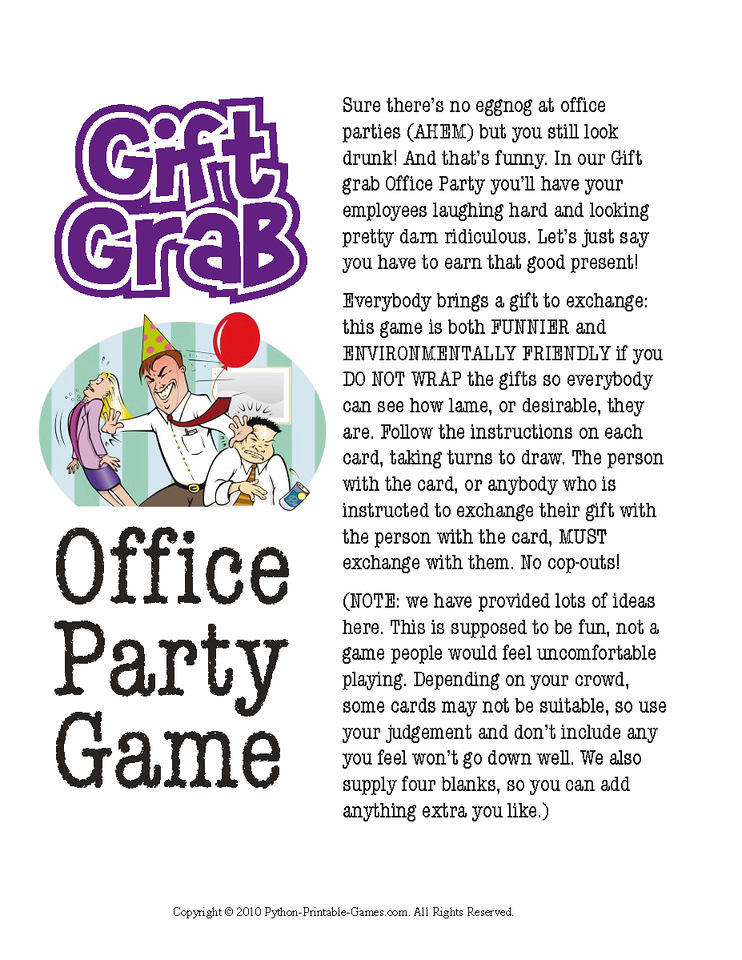 Office Christmas Party Gift Exchange- Gift Grab Printable Game
