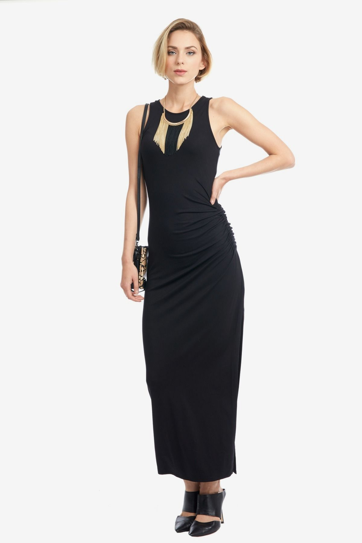 Ruched Sleeveless Maxi Dress