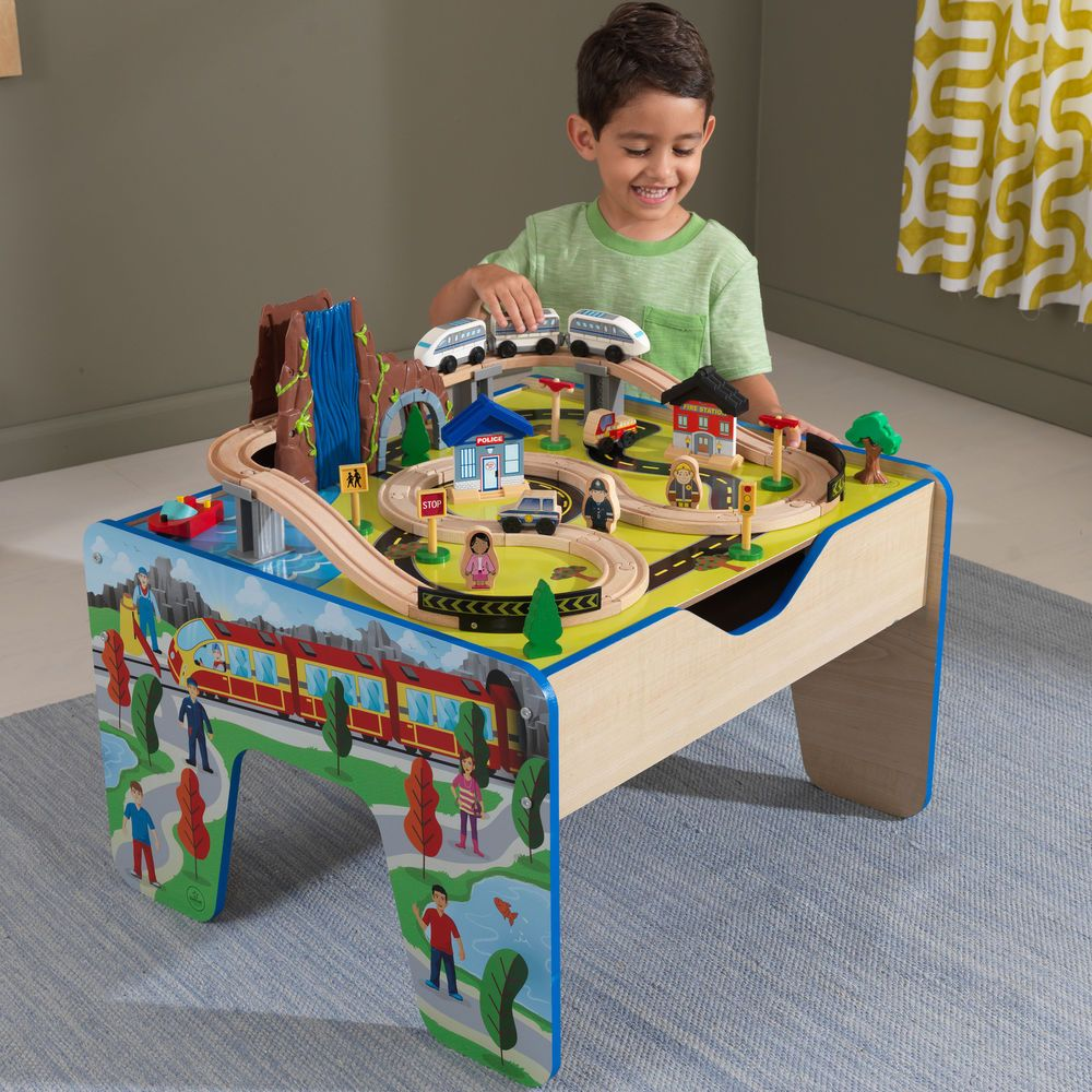 Baby Christmas Kids Toddler Thomas Train Set Table 48 Accessories Wood Toy Gift  sc 1 st  Pinterest : train set table for kids - pezcame.com