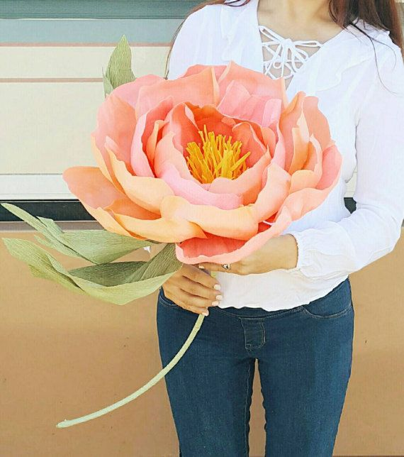 Giant paper flower. Huge paper peony photo prop. Alice in Wonderland party decor. Bridesmaid flower. Shop window, flower display, backdrop. #giantpaperflowers