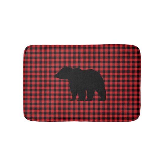 Black Bear Buffalo Check Bath Mat