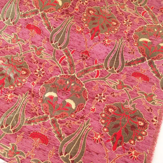 Meter  Yard,Tulips Chenille Velvet Fabric Ethnic Tribal Style Chenille Upholstery Fabric Aztec Navajo Geometric Design Kilim Fabric
