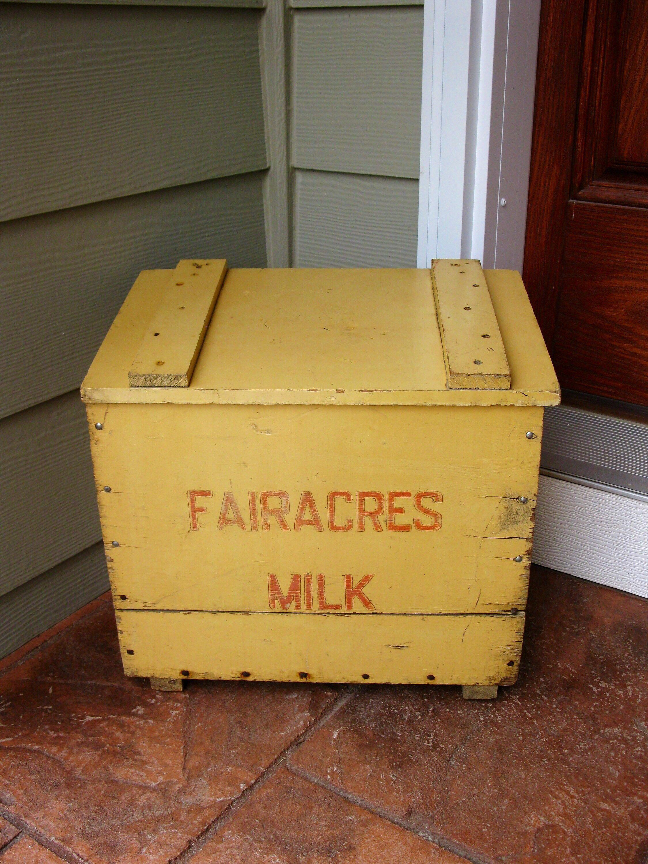 Excited To Share This Item From My Etsy 1969 Fairacres Milk Box Solid Wood Porch Home Delivery Advertising Vintage