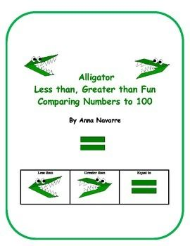 This purchase of the Alligator Less, than Greater than Fun allows students to compare numbers to 100. The idea is for students to use the alligator for remembering which way the symbol is suppose to go in order to state the comparison correctly.