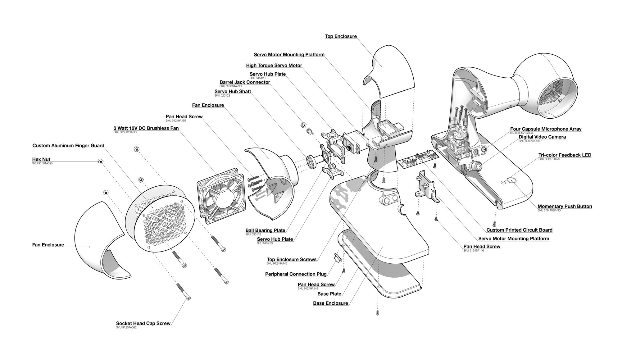 An Exploded Axon Drawing Of The Smart Fan