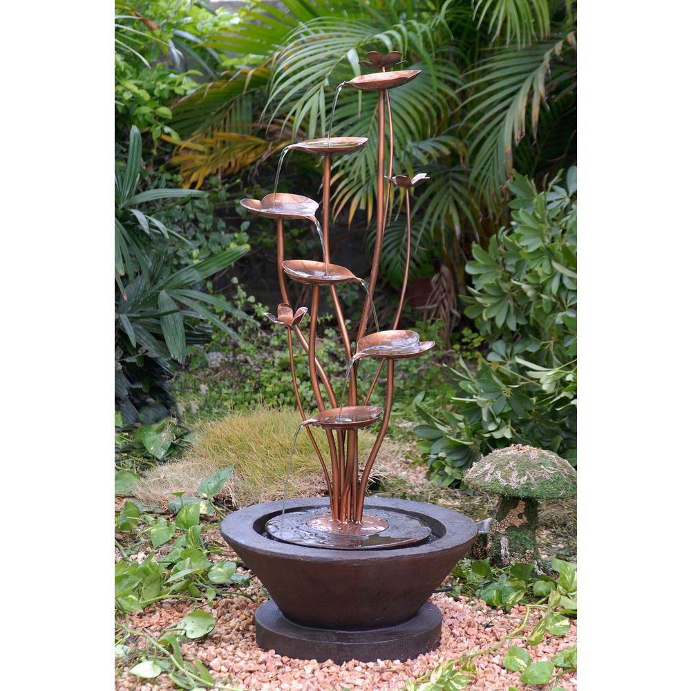 Fountain Cellar Acqua Di Loto Lotus Outdoor Fountain-FCL025 - The Home Depot
