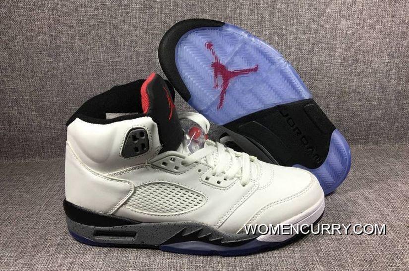 "New Air Jordan 5 Retro ""White Cement"" White Fire Red-Tech Grey-Black ... dc3c9207376b"