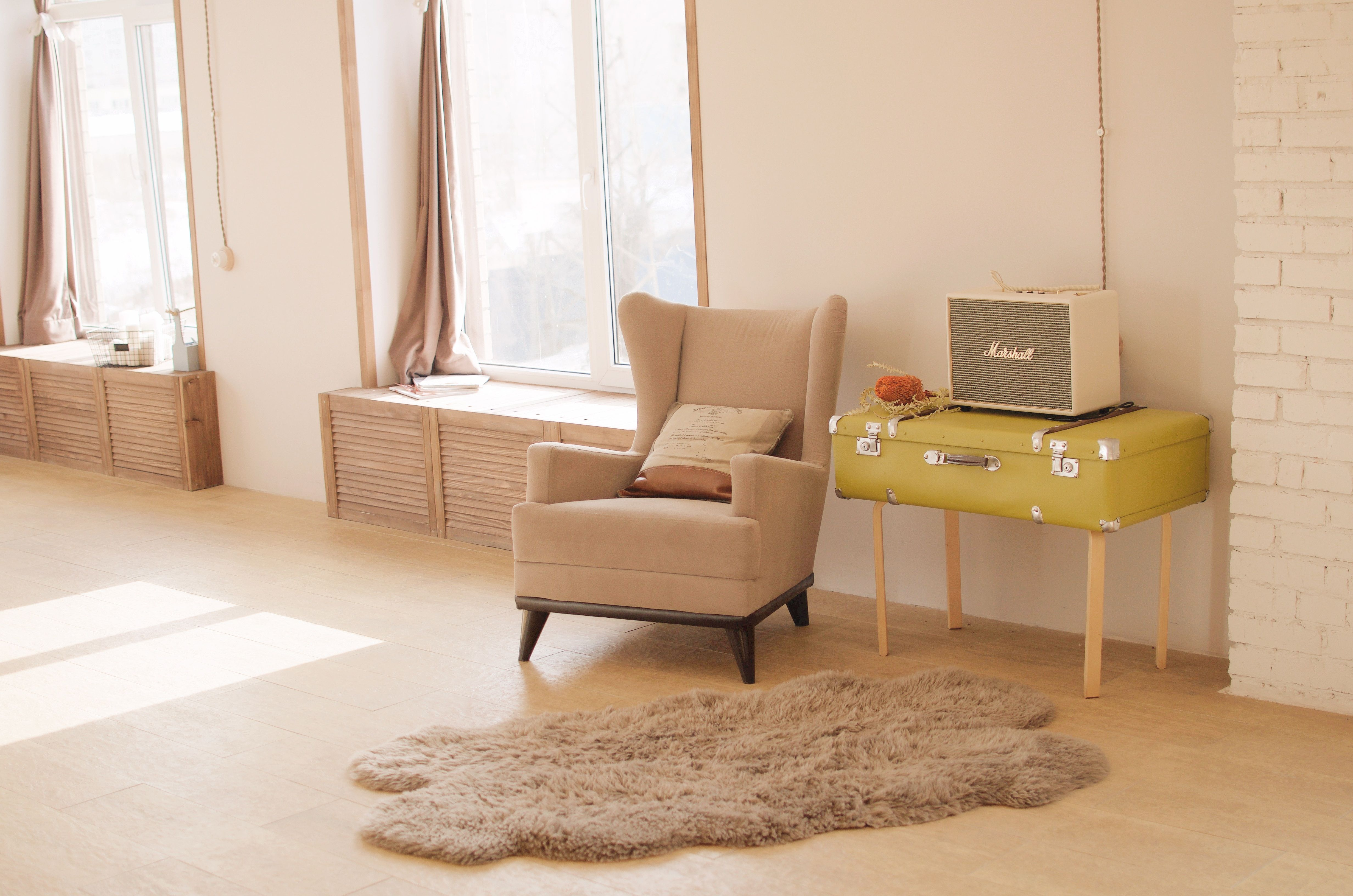 A Neutral Pelt And Pop Of Yellow Bring The Focus