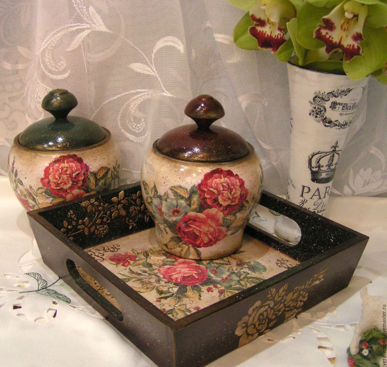 """Купить Набор для кухни горшочки и поднос """"Винтажные розы """" декупаж, винтаж - комбинированный, горшочки"""