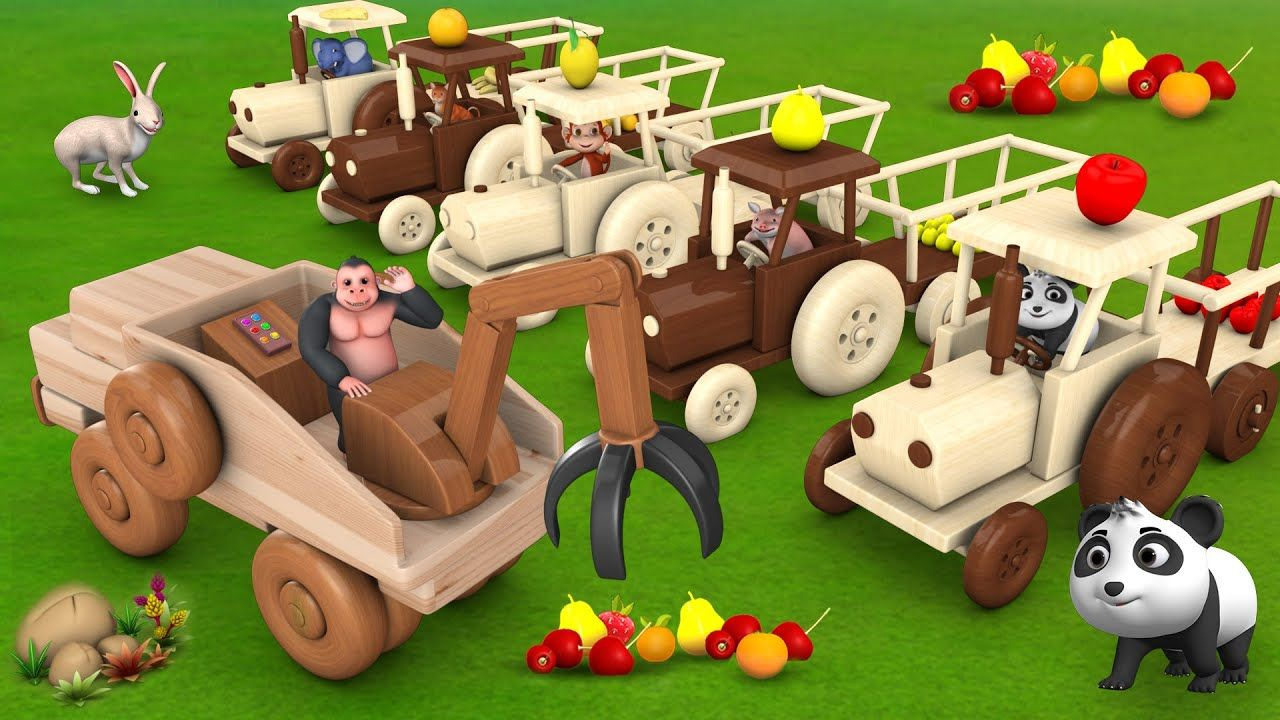 Animals Transporting Fruits with Wooden Tractor with help