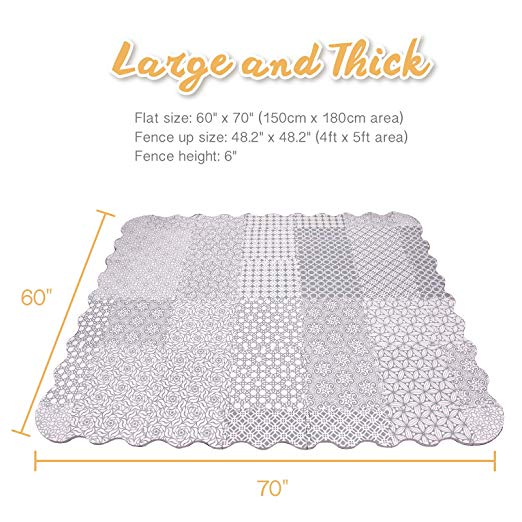 5FT x 6FT Extra Large Baby Play Mat with Fence Non Toxic Foam Puzzle Floor Mat for Kids