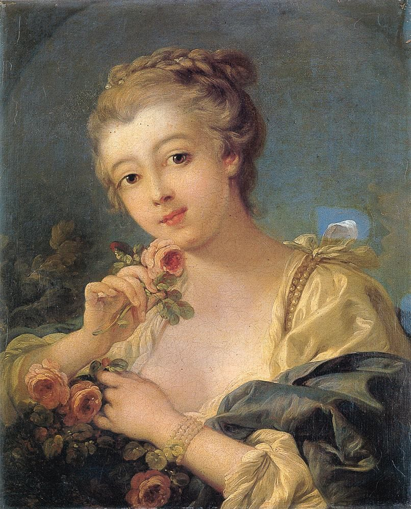 Francois Boucher Young Woman With A Bouquet Of Roses 806x1000 Pixels