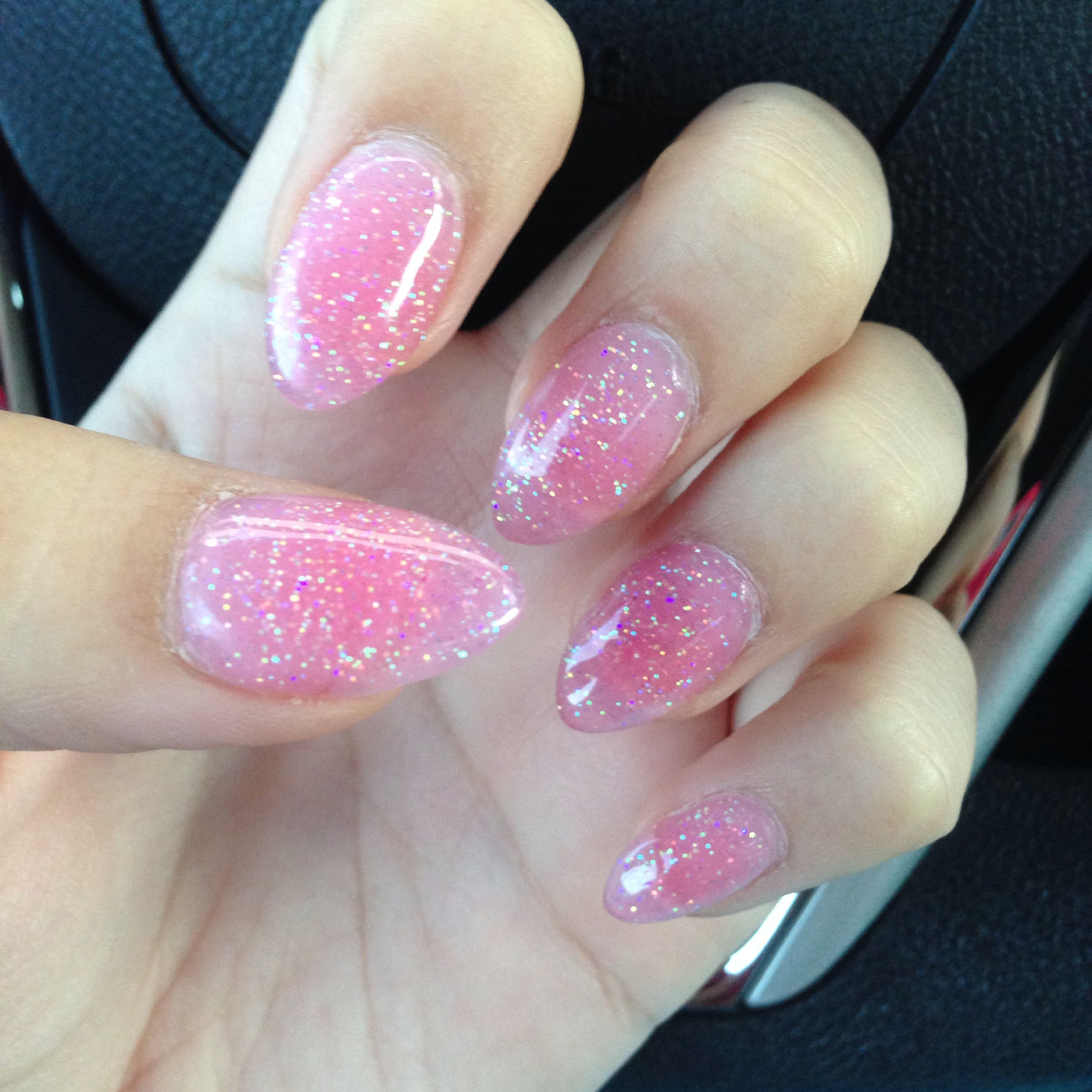 Pink And Blue Glitter Nail Polish: Glitter Pointy Nails.!