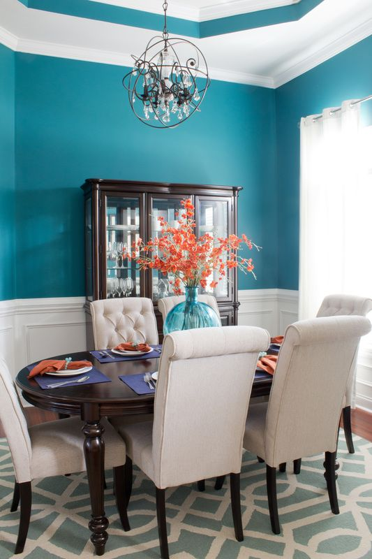 Dark Teal Dining Room Orb Crystal Chandelier Orange Orchid Centerpeice Centerpiece