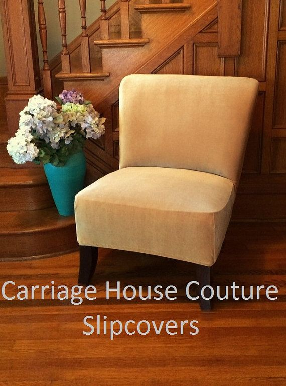 Slipcover Gold Stretch Velvet Chair Cover By CarriageHouseCouture