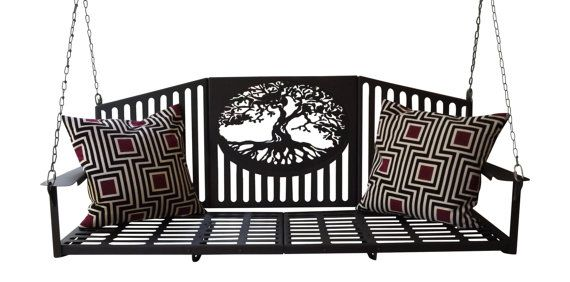 wrought iron porch swing with canopy metal parts plans oak tree steel