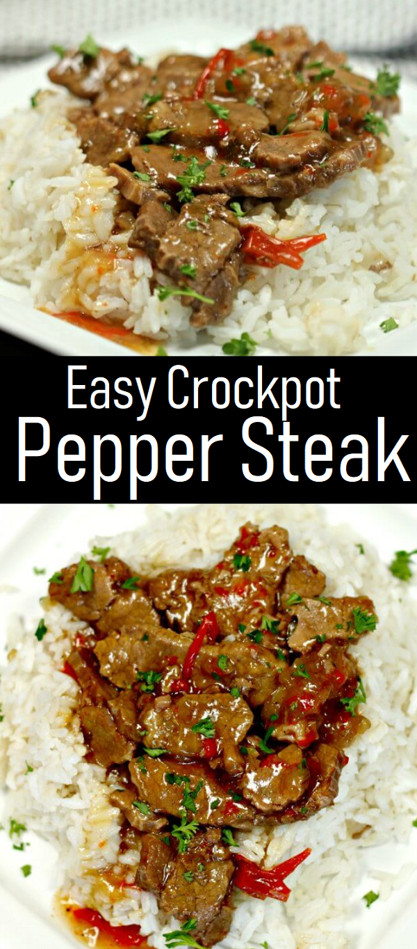 Easy Crockpot Pepper Steak Recipe - Gaya Recipes #cinnamonrollpokecake