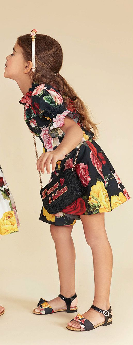 7a76c9827ceb DOLCE & GABBANA Girls Mini Me Black Floral Print Dress for Spring Summer  2018. Love this delightfully pretty mini me look inspired by the D&G  Women's ...