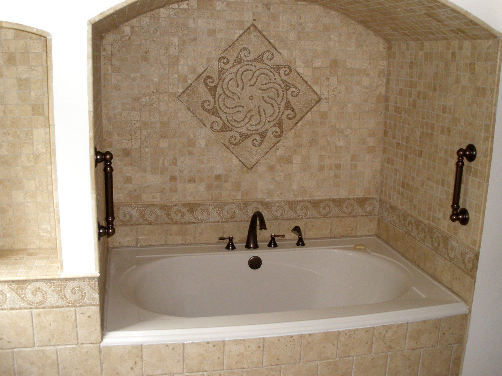 Shower Wall Tile Design example of a large trendy master walk in shower design in toronto with beige tile Bathroom
