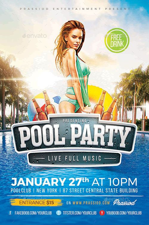 Pool Summer Party Flyer Template