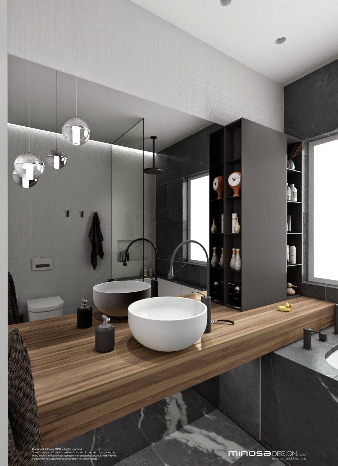 Une salle de bains moderne avec une belle vasque poser blanche un plan de travail en vois - Une belle salle de bain ...