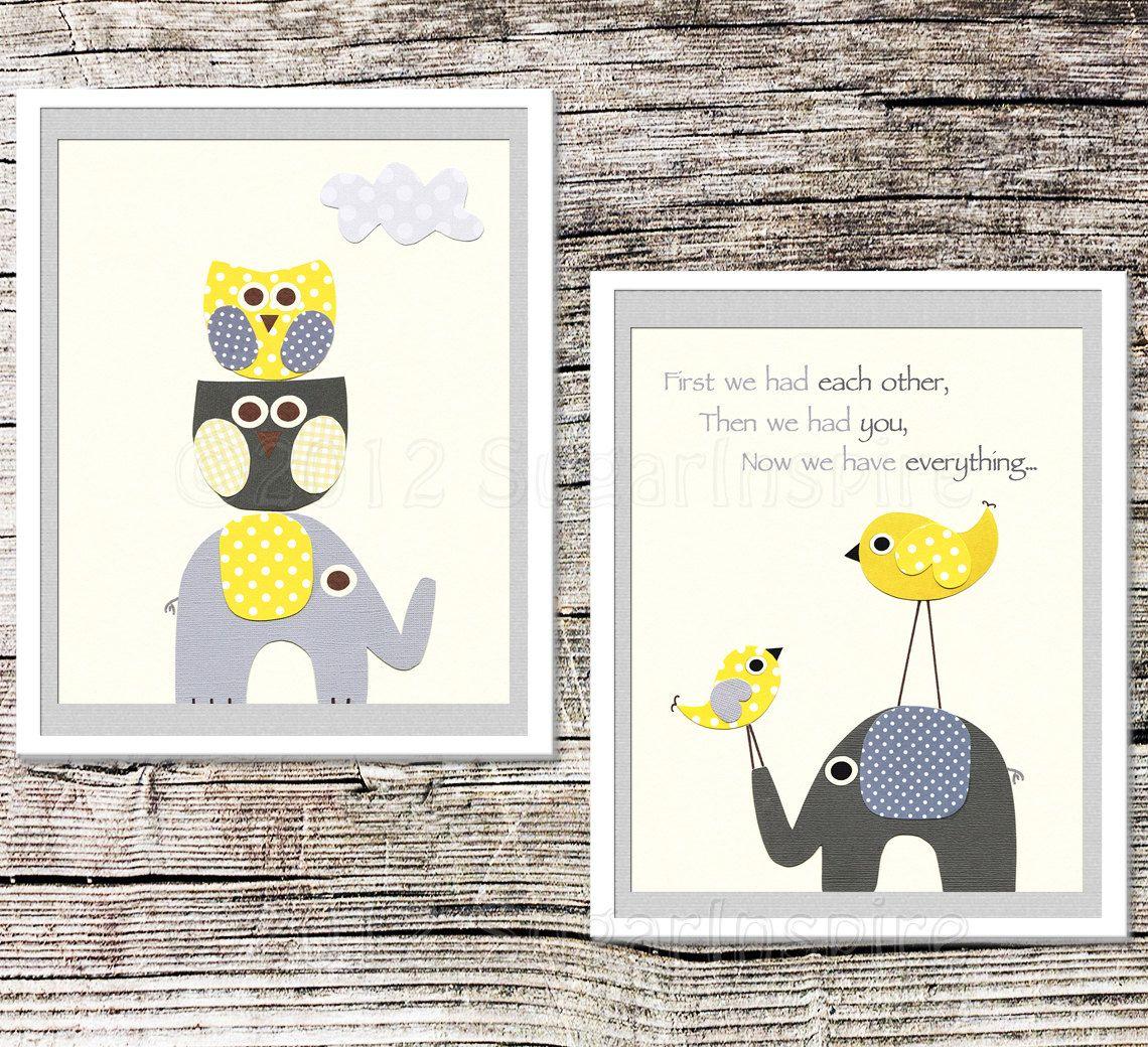 Yellow and grey nursery art print set x childrens room decor