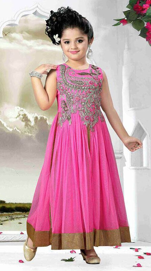 Beautiful Pink Net Designer Readymade Kids Gown Dt51542 Kids