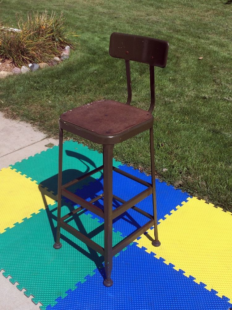 Vintage 40s 50s Lyon Metal Drafting Stool Chair Industrial