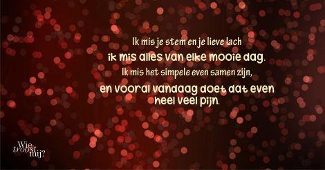Ik mis je stem en je lieve lach #gedicht #ikmisje #nietalleen #wietroostmij