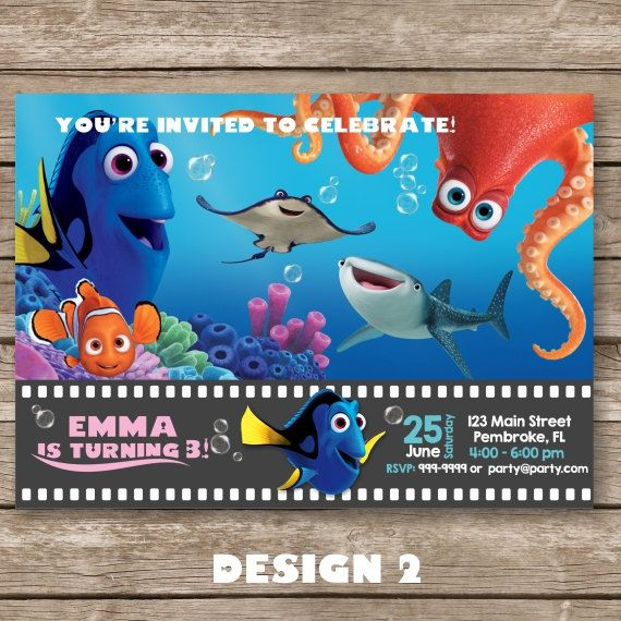 Finding Dory Invitation Finding Nemo Invitation By Partygiraffe