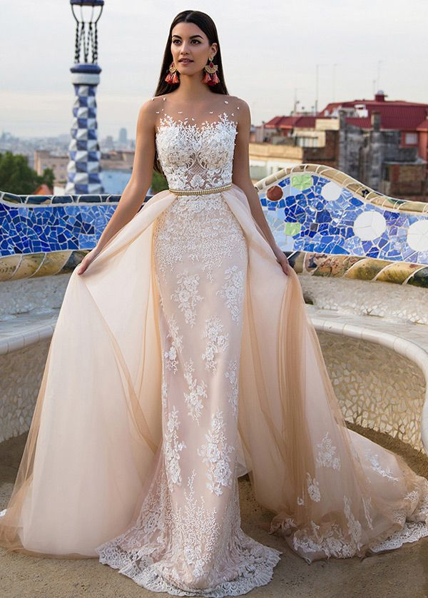stunning tulle & satin bateau neckline 2 in 1 wedding dresses with