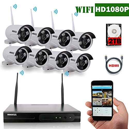 Oossxx 8 Channel Hd 1080p Wireless System Ip Security Camera System 8pcs 2 0 Meg Security Cameras For Home Security Camera Ideas Wireless Home Security Systems