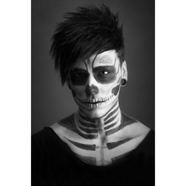 Skeleton makeup ❤ liked on Polyvore featuring backgrounds, b&w, people and pictures