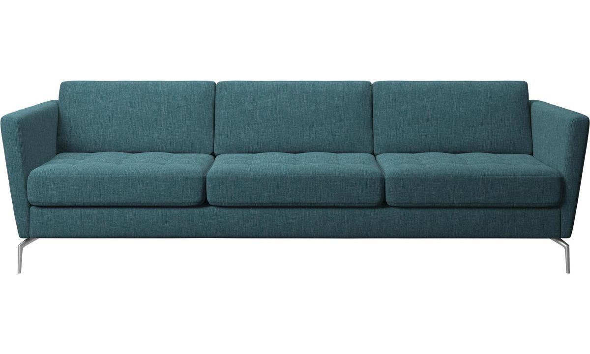 3 Seater Sofas Osaka Sofa Tufted Seat Blue Fabric Sofa 3