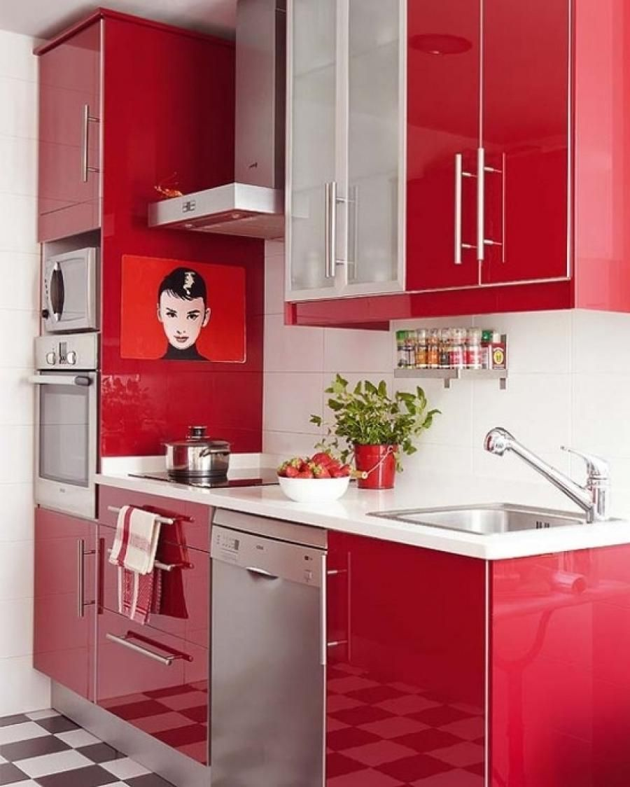 Kitchen Simple Red Kitchen Design With Black And White Floor red