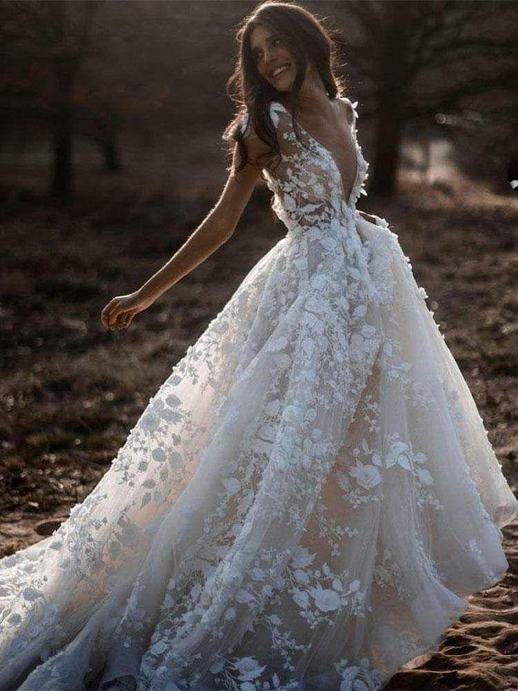 Deep V Neck Short Sleeve Backless A Line Wedding Dresses